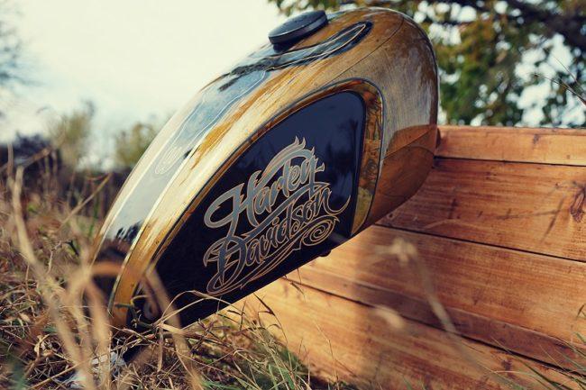 Réservoir Harley Davidson motif taureau vue côté