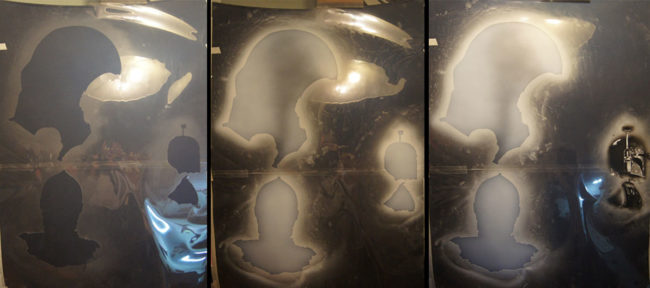 Les silhouettes des personnages de Star Wars dessinées sur le capot du Kadjar
