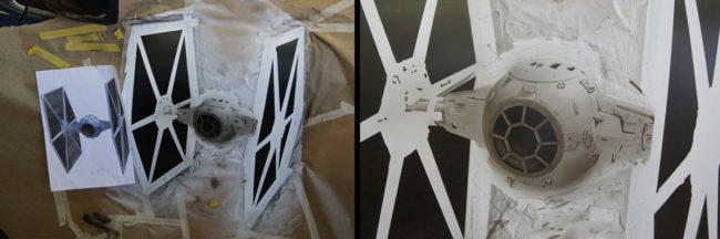Dessin des TIE FIGHTER - Star Wars sur les portes du Kadjar