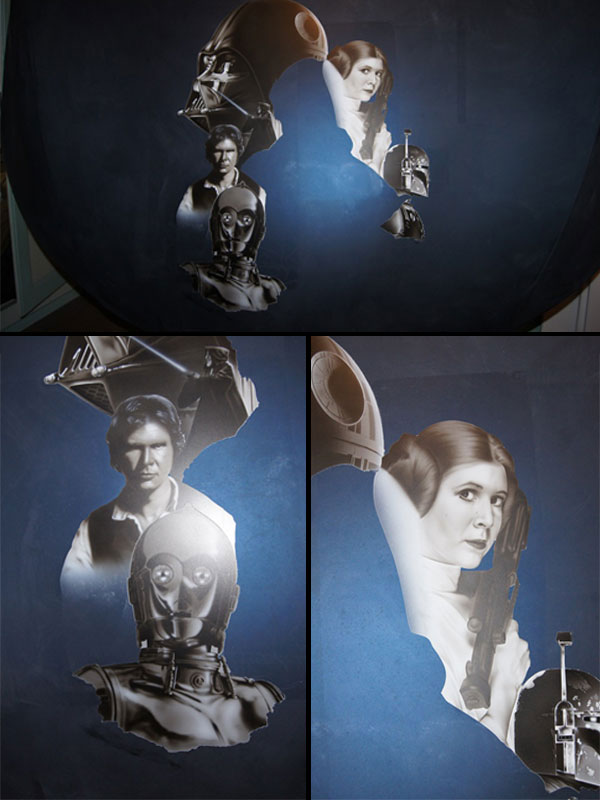 Les personnages de Star Wars peints à l'aérographe